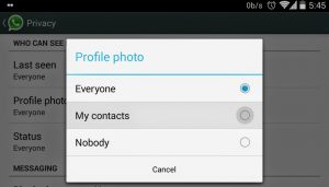 Hide profile picture in WhatsApp